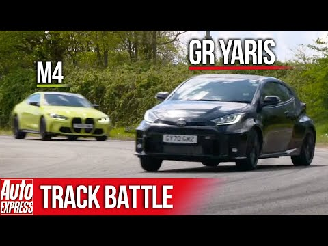 Can the new BMW M4 catch a Toyota GR Yaris? | Steve Sutcliffe Track Battle