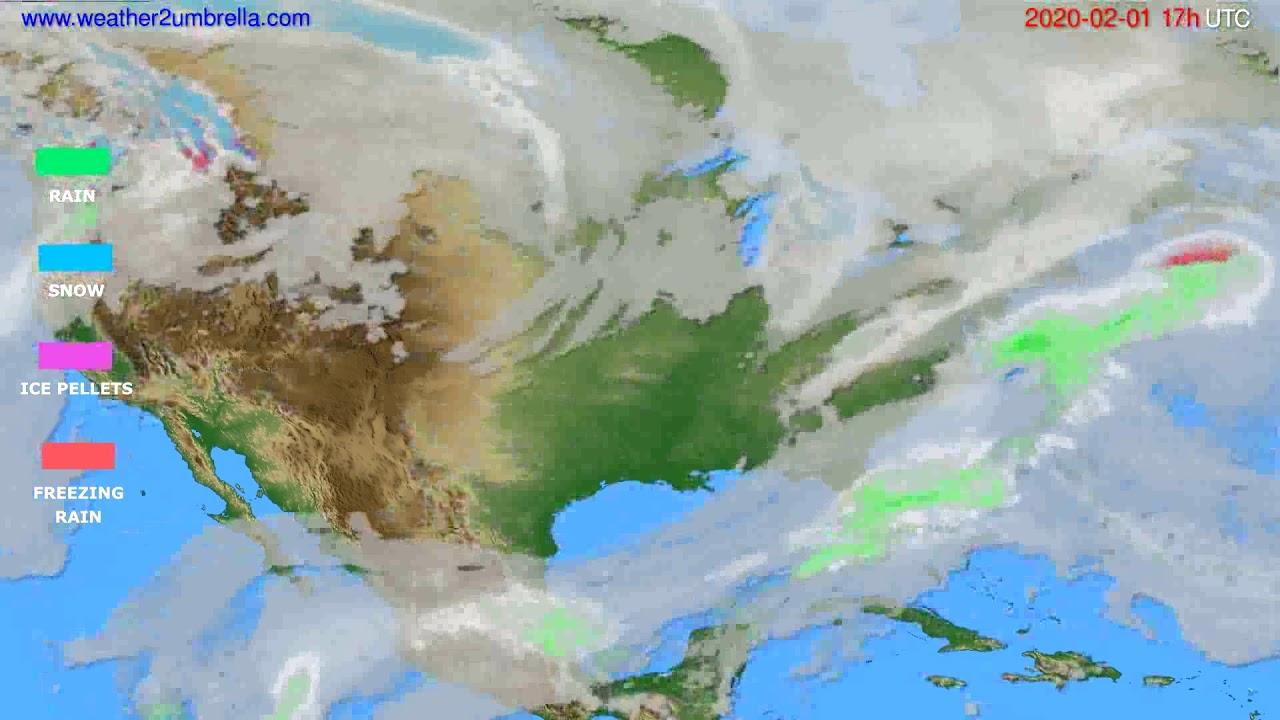 Precipitation forecast USA & Canada // modelrun: 12h UTC 2020-01-31