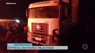 Incêndio destrói empresa que reciclava pneus em Assis