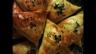 Sambusa aka samsa, somsa, samosa, sambusak. Central Asian pastry with meat (lamb) or pumpkin. Full video recipe by Milkyroad. With English subtitles.