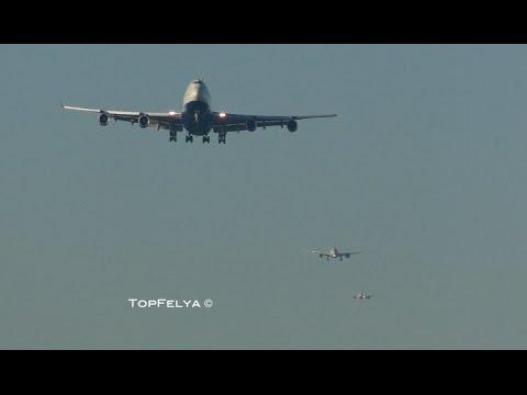 Long Queue of Airplanes Landing at London's Heathrow