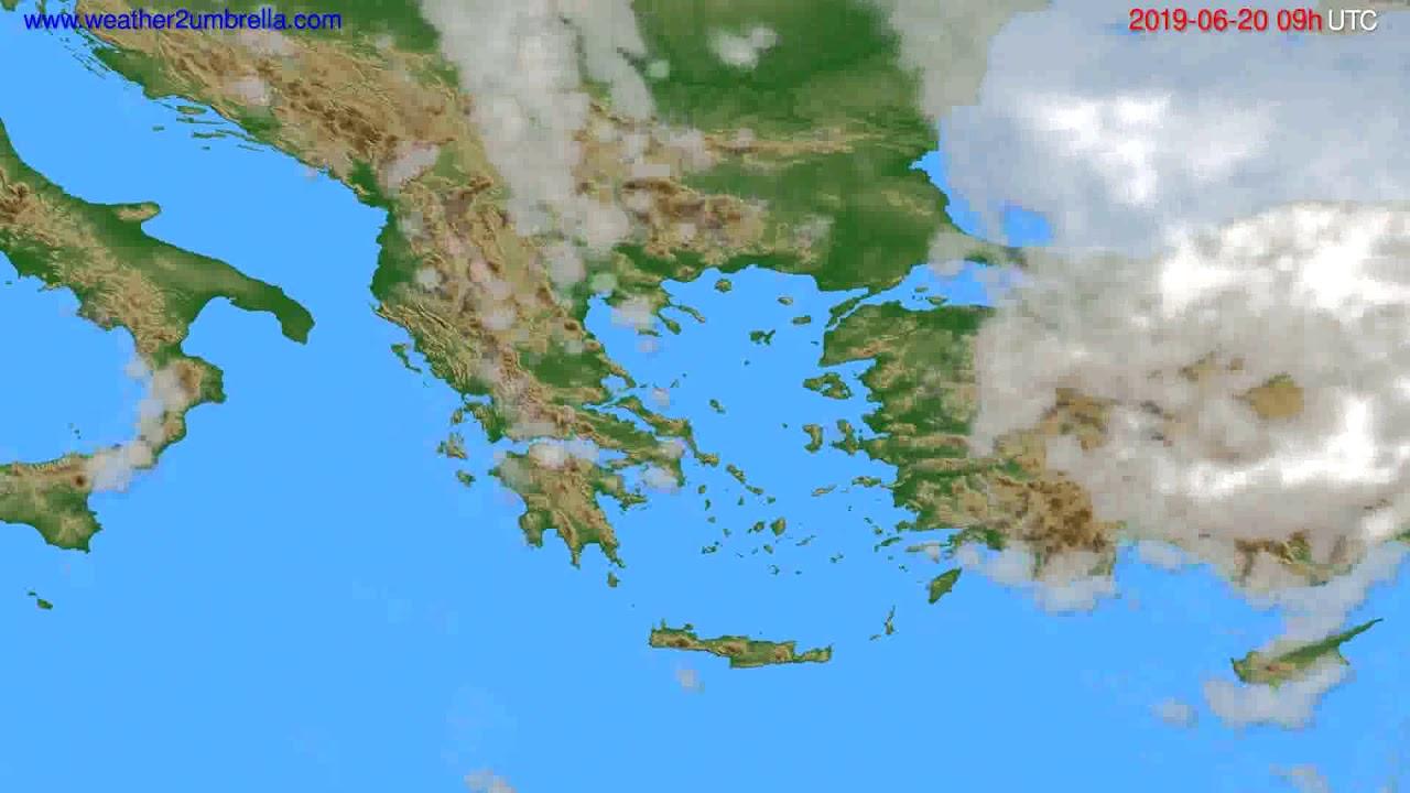 Cloud forecast Greece // modelrun: 12h UTC 2019-06-18
