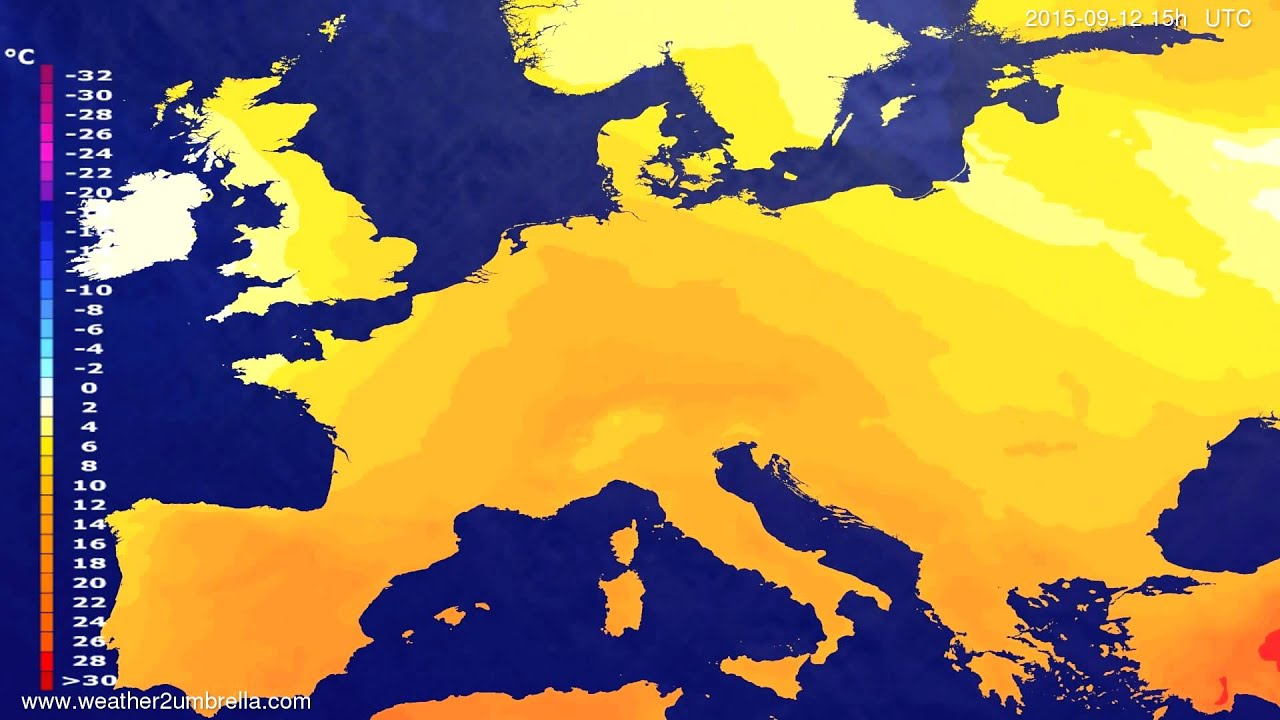 Temperature forecast Europe 2015-09-10