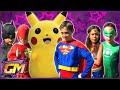Justice League Vs Pokemon Go With Superman, Batman, Wonder Woman, Flash & Green Lantern