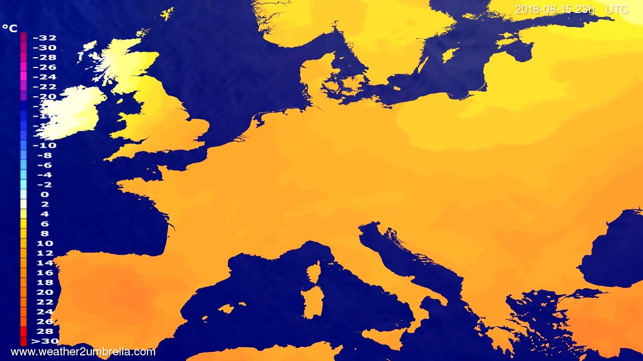 Temperature forecast Europe 2018-08-12