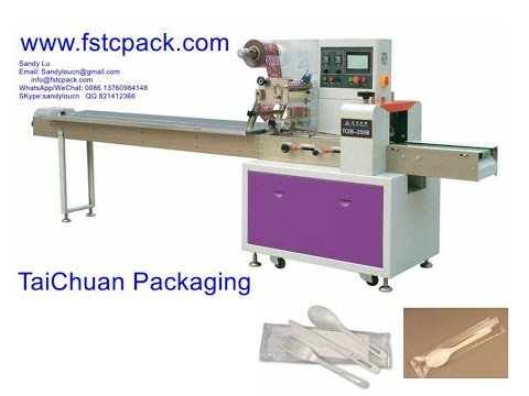 Horizontal Small Plastic  Spoon , Fork Packaging Machinery