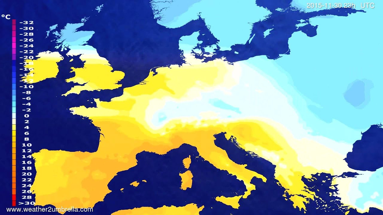 Temperature forecast Europe 2015-11-27