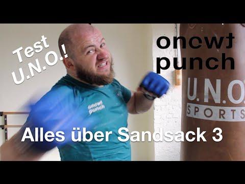 Boxsack für dich  40 kg Sandsack für maximal  Kraft mit One Two Punch Tutorial Test U.N.O. Sport.