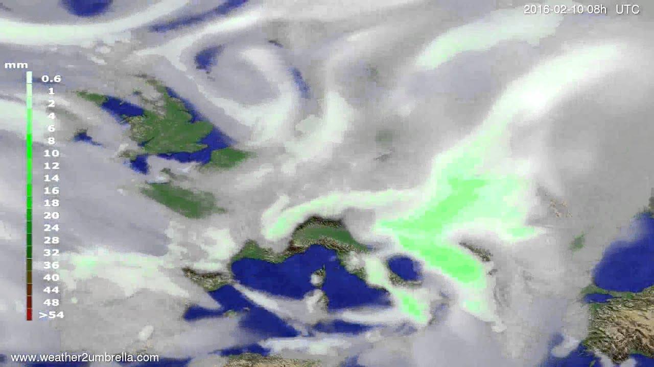Precipitation forecast Europe 2016-02-07