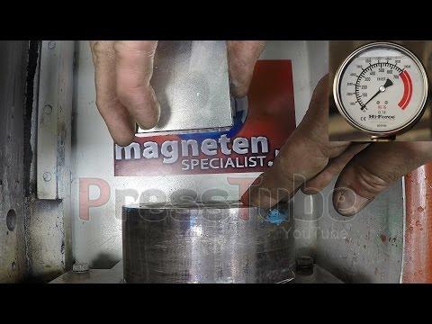 當什麼都能壓碎的「液壓機遇上地表最強力磁鐵-釹磁鐵」,意外的結果讓液壓機粉絲都超不爽啊!