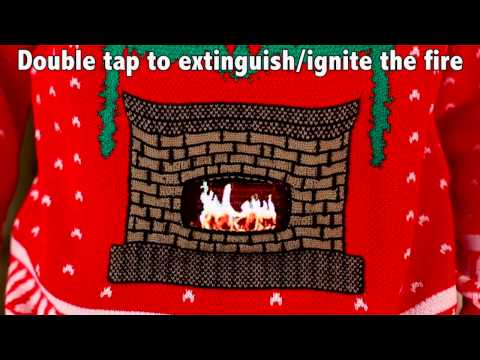Knit Crackling Fireplace Ugly Christmas Sweater Adult