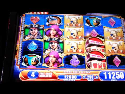 Pirate Ship Big Win Bonus Max Bet WMS Slot Machine