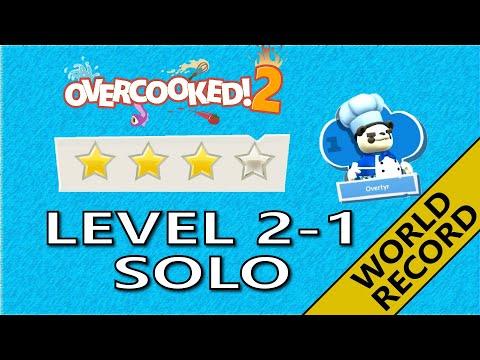 Overcooked 2! Level 2-1 - 4 Stars World record! -  1 Player - Score: 780