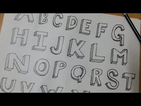 How to draw alphabet letters A - Z in 3D