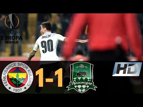 Fenerbahce vs FC Krasnodar 1-1 Europa League All Goals & Highlights 22/02/2017