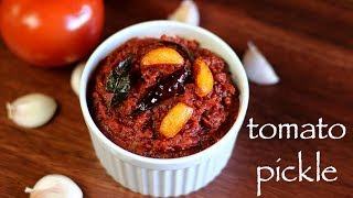 full recipe: http://hebbarskitchen.com/tomato-pickle-recipe-tomato-pachadi/download android app: https://play.google.com/store/apps/details?id=com.hebbarskitchen.android&hl=endownload iOS app: https://itunes.apple.com/us/app/id1176001245Email – hebbars.kitchen@gmail.comWebsite – http://hebbarskitchen.com/Facebook – https://www.facebook.com/HebbarsKitchenTwitter – https://twitter.com/HebbarsKitchenPinterest – https://www.pinterest.com/hebbarskitchen/plus one – https://plus.google.com/103607661742528324418/postslinkedin - https://in.linkedin.com/in/hebbars-kitchen-b80a8010ainstagram - https://www.instagram.com/hebbars.kitchen/tumblr - http://hebbarskitchen.tumblr.com/twitter - https://twitter.com/HebbarsKitchenMusic: http://www.hooksounds.com/tomato pickle recipe  tomato pachadi recipe  tomato achar recipe or andhra tomato pickle recipe with detailed photo and video recipe. basically a cooked tomato concentrate, spiced with pickle spices, specifically used as a condiment to enhance taste and staple. the most common spices used in tomato pickle recipe is asafoetida, red chili powder, turmeric, and fenugreek with the sourness of ripe tomatoes.tomato pickle recipe  tomato pachadi recipe  tomato achar recipe or andhra tomato pickle recipe with step by step photo and video recipe. perhaps one the simple yet tastiest pickle recipe which can be prepared within minutes. the best part of tomato pickle is it can served either as relish to improvise the staple or as chutney to idli, dosa or even upma recipes. unlike other traditional pickle recipes, it does not have a strong and pungent flavour and comparatively mild in flavour.