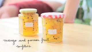 Instagram & Facebook: @momo.eatsSupport us on Patreon: https://www.patreon.com/momoeatsMango and Passion Fruit ConfitureIngredients for 1 kg. (we used half of it):1 kg. mango diced in 1 cm. cubes6 passion fruits 650 g. sugar (regular white sugar)2 lemons- Juice the lemon and don't throw the rest of the fruit away, you'll need it.-Bring to boil and cook for 30 minutes aprox. To check if it's ready, pour some drops into a cold plate and see if it's starting to jellify.-Add the passion fruit at the end, and cook for a couple of minutes.-Use sterilised jars.*****Confitura de mango y maracuyáIngredientes para 1 kg. (aquí usamos la mitad):1 kg. de mango cortado en cubos de 1 cm.6 maracuyás 650 g. de azúcar2 limones-Exprime el limón y reserva la cáscara.-Lleva la mezcla a ebullición y cuécela durante unos 30 minutos. Para comprobar si está lista, echa unas gotas sobre un plato frío y observa si la mezcla comienza a gelificar.-Utiliza tarros esterilizados.*****#vegan #veganrecipes #confiture #jam #recetasveganas #mermelada #confituraMusic: I Will Walk With You by Ken Verheecke under a Creative Commons Attribution License