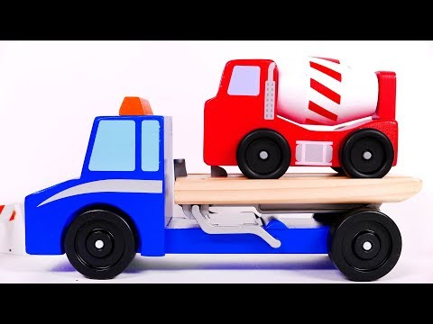 Tow Truck and Construction Toy Vehicles for Children Learn Colors
