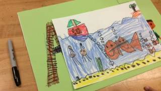 First Graders Draw Underwater Scenes