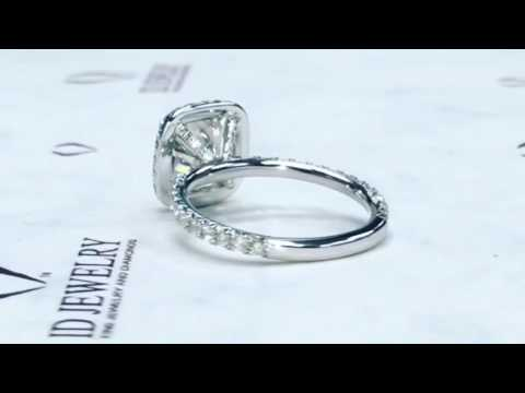 2.00ct cushion cut diamond in halo setting