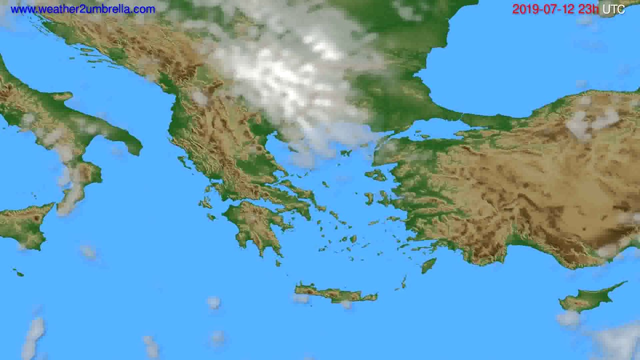Cloud forecast Greece // modelrun: 12h UTC 2019-07-09