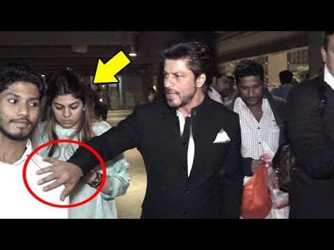 ANGRY Shahrukh Khan Pushes Away A FAN To Save A Lady At Airport