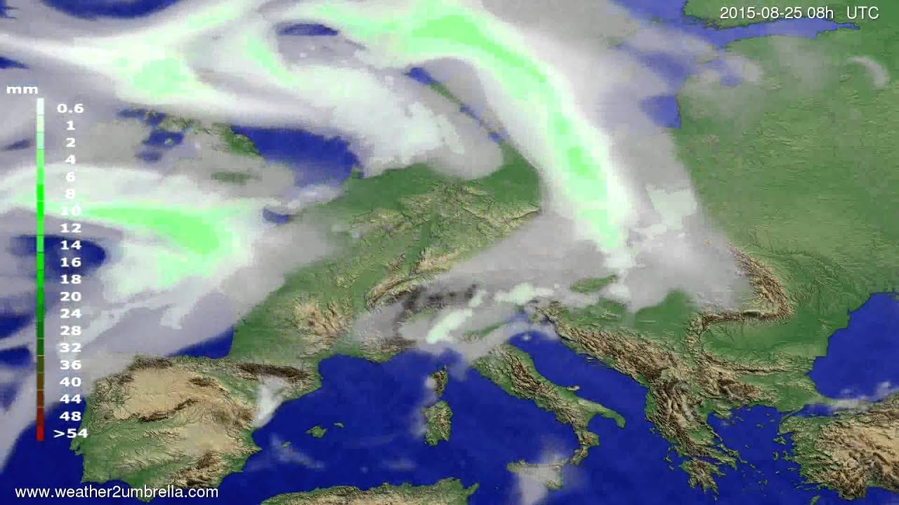 Precipitation forecast Europe 2015-08-22
