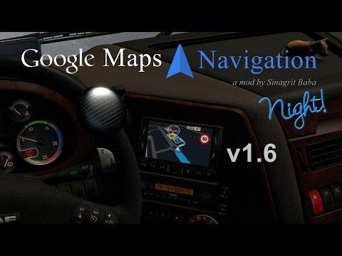 ETS 2 - Google Maps Navigation Night Version v1.6