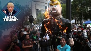 Protestan contra Trump en la embajada de EU en México