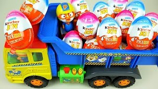 Video Kinder Joy Surprise eggs and Pororo truck toys MP3, 3GP, MP4, WEBM, AVI, FLV Maret 2018