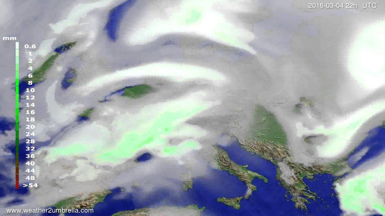 Precipitation forecast Europe 2016-03-02