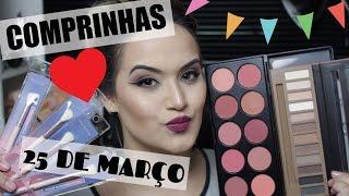 Nesse vídeo eu mostro minhas ultimas comprinhas de maquiagens super baratinha da 25 de março olhem só: ENDEREÇO DAS LOJAS: https://goo.gl/gytkpC ♥QUER ME ENV...
