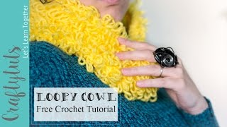 Loopy Cowl, How to crochet a cowl , Free Pattern, and TutorialLoopy Cowl - Free Crochet Pattern: http://craftytuts.com/loopy-cowl-free-crochet-pattern/CraftyTuts Etsy Store: https://www.etsy.com/shop/CraftyTutsLoopy cowl is a short cowl, very cozy and fluffy. It is also a very quick project (You can finish it in one or two hours, depending on how fast you can crochet and how much time you spend on the project).Is very simple, and it will look good with any yarn color.The loopy cowl is a perfect fall accessory. If created with a nice neutral yarn it could be paired with almost any outfit.And because it doesn't use much yarn, is a perfect stash buster, and you can easily make many colors of the loopy cowl.The loopy cowl also makes for a great holiday gift.