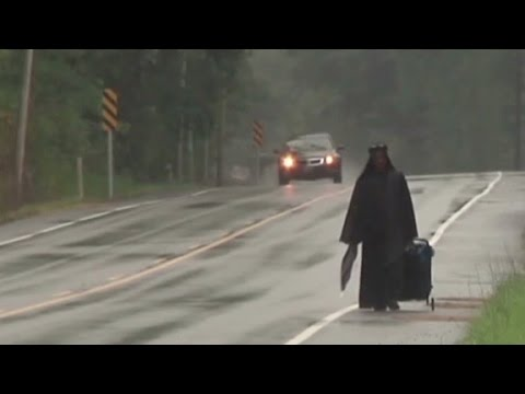 'Social' - The story of a woman dressed in black seen walking down the highway has gone viral. CNN affiliate WATE reports.