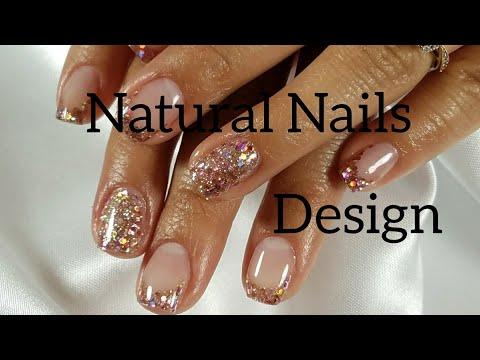 Acrylic nails - Design with Acrylic on short natural Nails.English