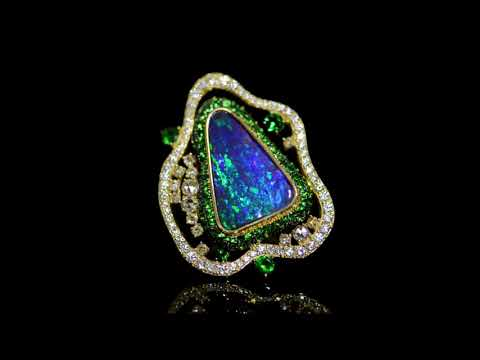Lady's 18k Yellow Gold 8.56ct Black Opal and Diamond Ring