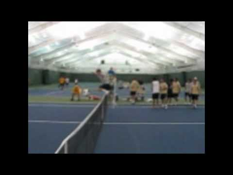 Very Funny Sports Video (Michael hurts himself on tennis court) HARD!