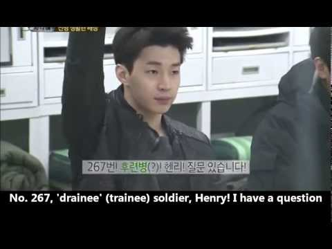 [real man] 20140216 Eng - Henry joining the army Part 1 FUNNY! 진짜사나이 헨리 질문 너무 웃겨~! (видео)