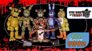The boys just bought the entire Five Nights at Freddy's Action Figure set from FuncoPop.  We'll unbox all of them with you and show you what they look like including SpringTrap that has parts in each character box!