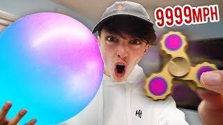 9999+ MPH GOLD FIDGET SPINNER VS WUBBLE BUBBLE EXPERIMENT!!! (Fidget Spinner Tricks)