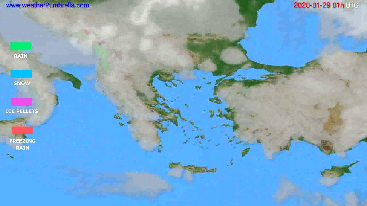 Precipitation forecast Greece // modelrun: 12h UTC 2020-01-27