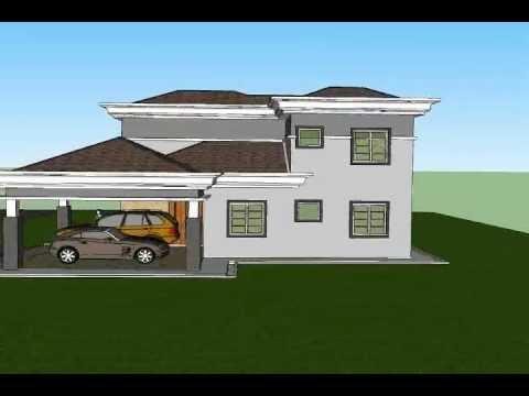 pelan rumah banglo - Sila layari http://www.rekabentukrumah.com untuk tempahan pelan. Rekabentuk Pelan Rumah C2-07 (Banglo 2 tingkat 4 bilik/ 3 bilik air berkeluasan 180.5 meter ...