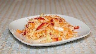 Салат витаминный с капустой и болгарским перцем яркий, ароматный и хрустящий