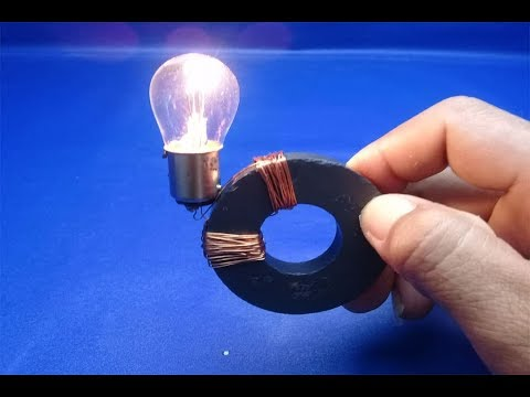 12v Light Bulb, Copper Wire with Magnets , Free Energy , simple 2018