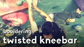 Twisted kneebar bouldering problem - Climbing at Cliffs of ID by  rockentry