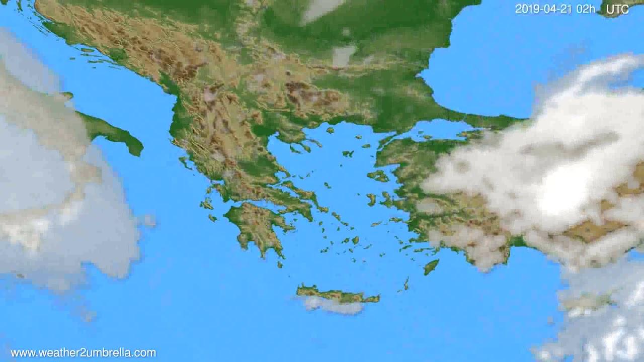 Cloud forecast Greece // modelrun: 12h UTC 2019-04-18