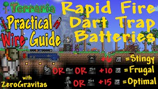 [1.3 UPDATE NOTES] Updated designs in this animated guide: http://forums.terraria.org/index.php?threads/tutorial-wip-cooldown-juggling-rapid-fire-dart-trap-engines-animated-guide.42934/Dart (and super dart) trap cooldown times have been increased from 3s to 3.33s (200 ticks). This breaks the firing pattern of all the designs shown in the video, with no darts firing half the time. The designs using faster mob types may be fixed by using a 1s timer instead and lengthening the plate run 10% (increasing the number of traps too). Alternatively, you will need to find the best plate in the run to wire back to the statue instead of the timer, to automatically re-trigger a new mob just *after* 3.33s. (Or use the new designs in linked guide, above.)════════════════════════════════════════+ ORIGINAL DESCRIPTION:With just one mob spawning statue (crab, fish, rabbit, skeleton or piranha), 6 to15 dart traps and minimal wiring, you can take out ANYTHING! Full construction tutorial and guides to usage contexts. More information and diagrams in forum guide: http://forums.terraria.org/index.php?threads/tutorial-video-simple-rapid-fire-dart-trap-batteries-practical-wire-guide.1646/ Please ask any detailed questions there.  :o)+ VIDEO INDEX:0:09 Build tutorial with skeleton engine.2:18 'Ghost Wall' glitch.4:08 Piranha engine ('optimal').4:43 Finding other suitable spawn statues (mob speeds).5:05 List of statues, trap numbers and type (optimal/frugal/stingy)/5:14 Bunny engine.5:26 Goldfish engine & Goblins in 40s.5:45 Arena/farm set-up6:21 Piranha engine (version 2 - 'frugal').6:45 Crab Engine ('stingy').7:06 Hard mode grind examples.7:39 Farming example (Antlions).7:54 Boss arena (Eye of Cthulhu, skeleton engine).8:05 Further Applications... Autofarms by DicemanX+ REFERENCES:(1) Dart speed and Optimal Trap Separation calculated in this videohttps://www.youtube.com/watch?v=SIBPJmJzPSA&list=UUyLQbVwYleCYzgl49dNAeOw(2) Mob speed demonstration video (to calculate track lengths / trap numbe