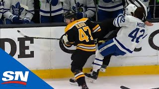 Maple Leafs' Trevor Moore Loses Helmet After Torey Krug Knocks Him Into Linesman by Sportsnet Canada