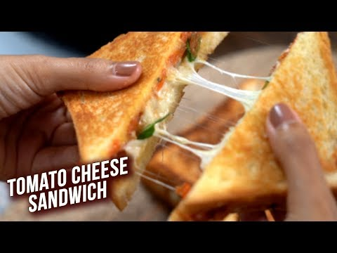 Melted Cheese Tomato Sandwich   Easy Cheese Tomato Toast Sandwich Recipe   Tomato Cheese Sandwich