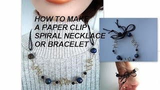 NECKLACE, PAPER CLIP SPIRAL NECKLACE OR BRACELET, how to diy - YouTube